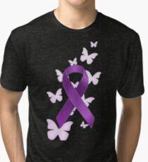 Camiseta de tejido mixto Cinta púrpura de la conciencia con las mariposas 5ef18030f0425
