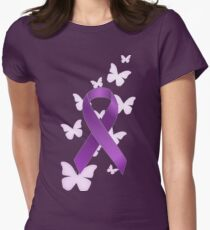 Purple Awareness Ribbon with Butterflies T-Shirt