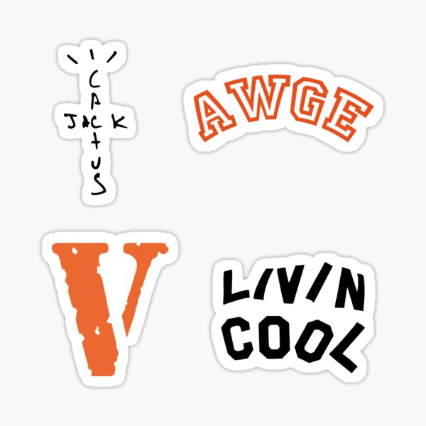 Streetwear stickers pack - Vlone - AWGE - Livin Cool - Cactus Jack Sticker