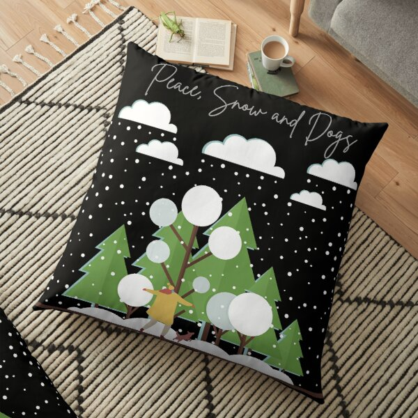 Winter - Peace, Snow and Dogs Floor Pillow