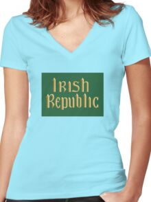 Irish Republic flag flown during the Easter Rising 1916 Women's Fitted V-Neck T-Shirt