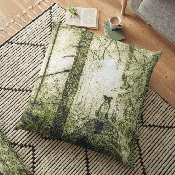 Dog in the woods Floor Pillow