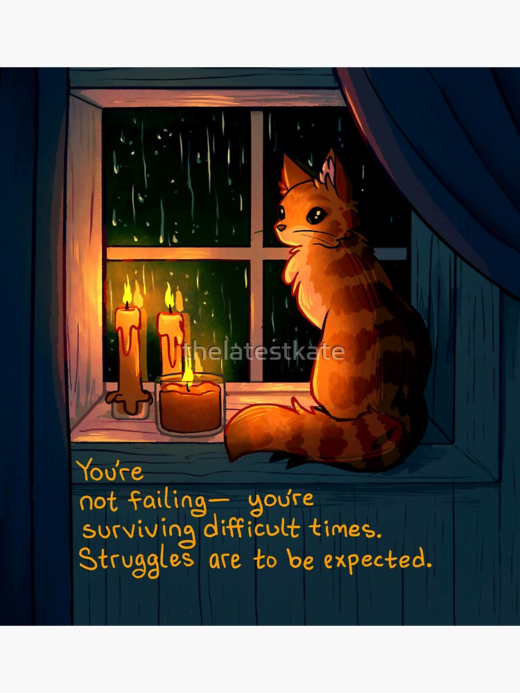 """""""You're Surviving Difficult Times"""" Rainy Window Cat by thelatestkate"""