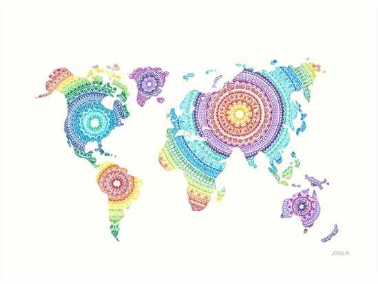 World Map Mandala Art Prints By Josilix Redbubble - Mandala map of the world