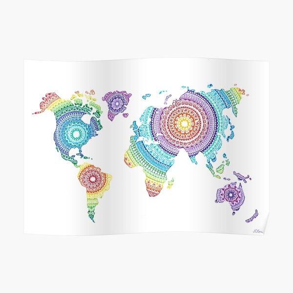 World Map Mandala Poster