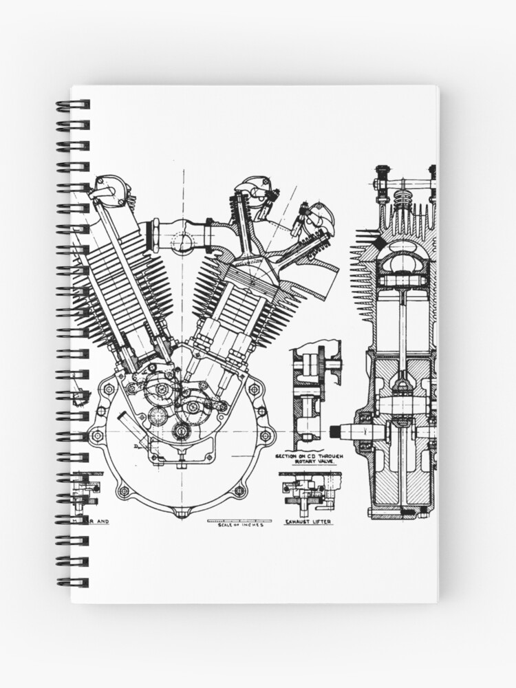 Jap V Twin Engine Spiral Notebook By Manuuu21