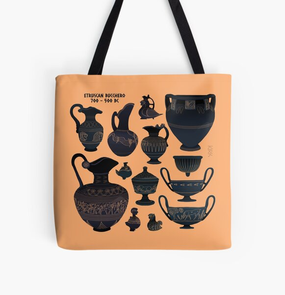 Etruscan Bucchero Pottery All Over Print Tote Bag