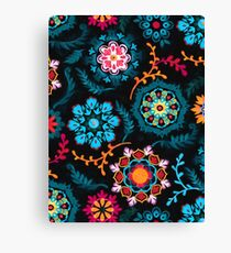 Suzani Inspired Pattern on Black Canvas Print