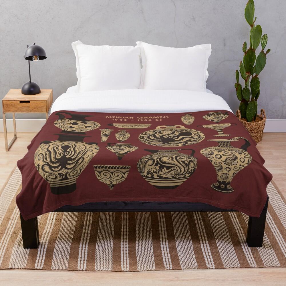 Late Minoan Ceramics Throw Blanket