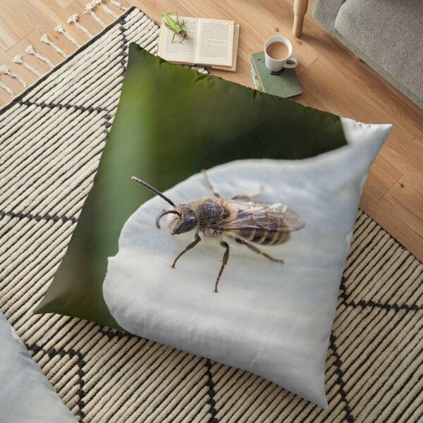 Bee on Flower Petal Floor Pillow