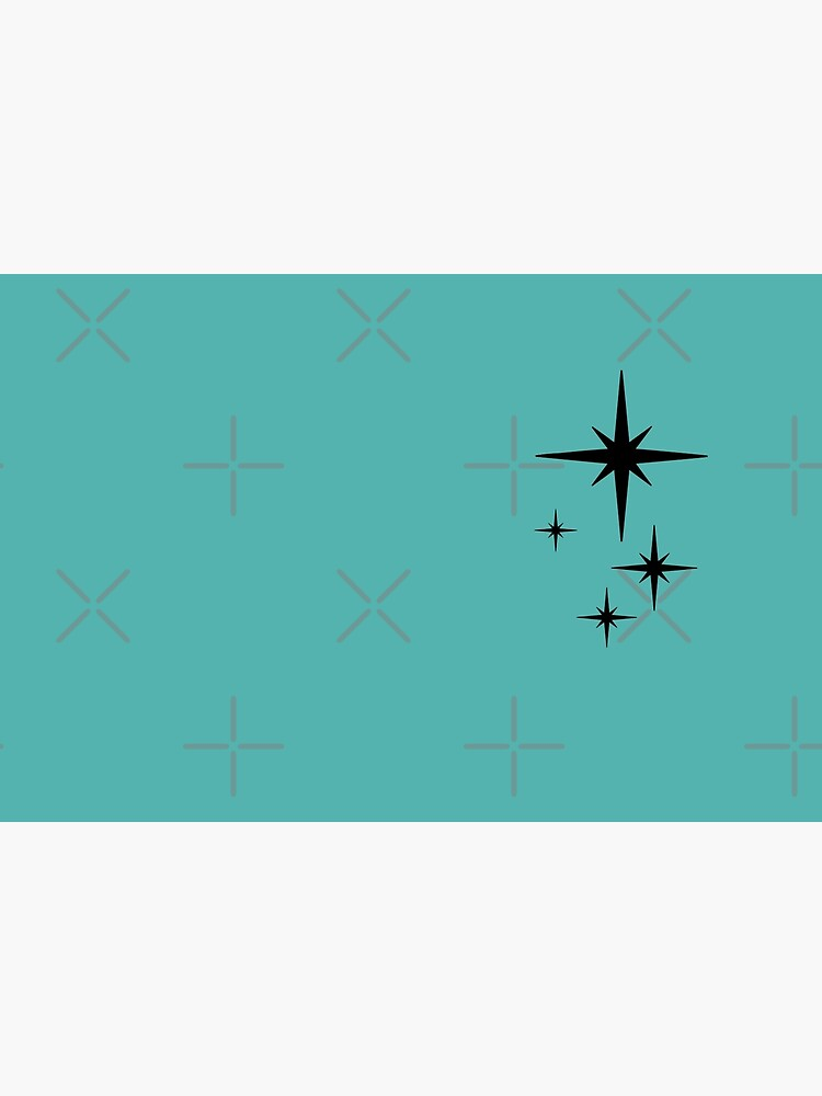 1950s Atomic Age Retro Starburst in Turquoise and Black by kierkegaard