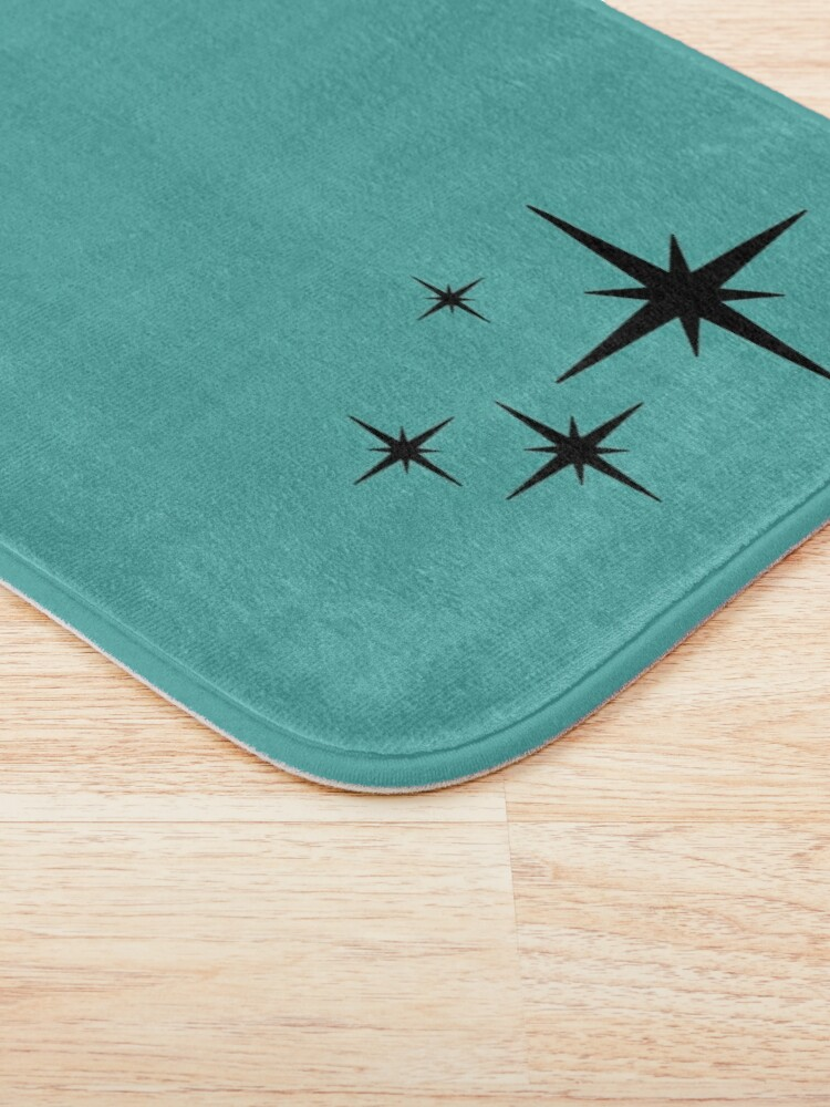 Alternate view of 1950s Atomic Age Retro Starburst in Turquoise and Black Bath Mat