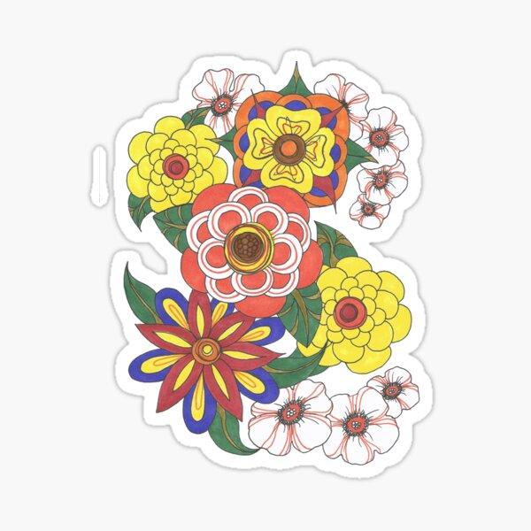 Retro Flowers Sticker