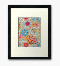 Brown Sugar Suzani Inspired Pattern Framed Print