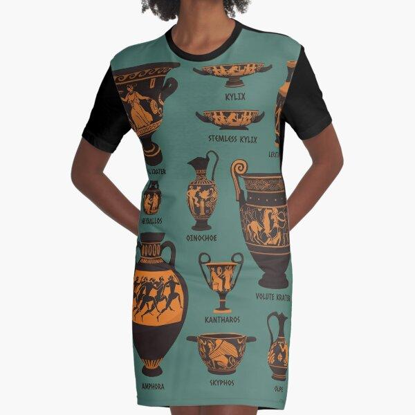 Ancient Greek Pottery Graphic T-Shirt Dress