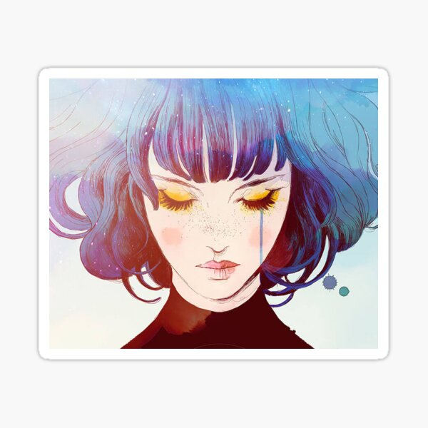 GRIS visage portrait aquarelle Sticker