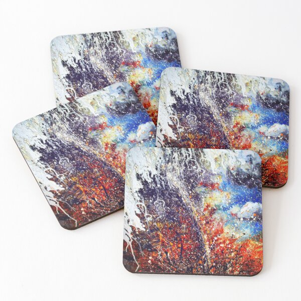Tornado painting in acrylic pour abstract style Coasters (Set of 4)