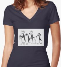Penguins From Mary Poppins Sketch Women's Fitted V-Neck T-Shirt