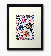 Happy Color Suzani Inspired Pattern Framed Print