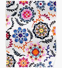 Happy Color Suzani Inspired Pattern Poster