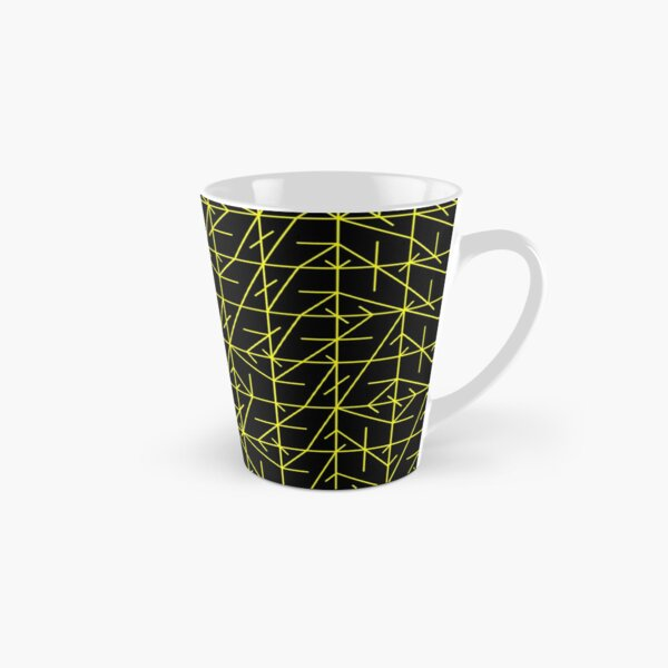Yellow Square Line Pattern | Random | Illustration | cool | modern art | abstract art | fractal art Tall Mug