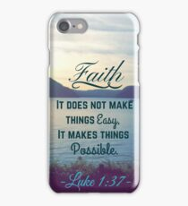 Faith Bible Verse- Luke 1:37 iPhone Case/Skin