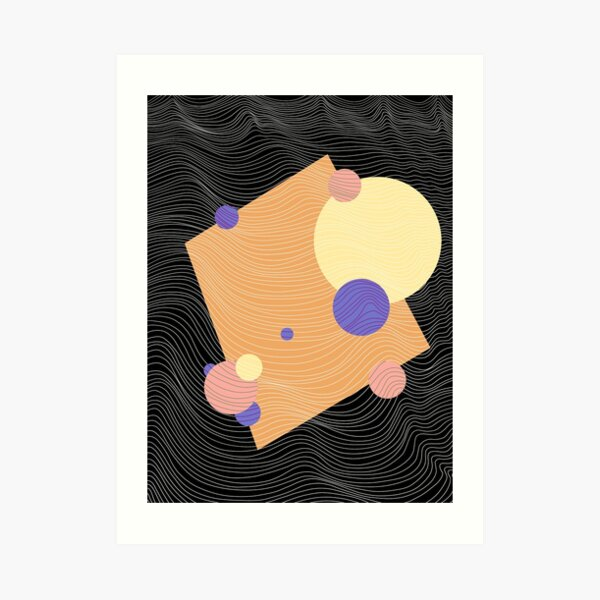 Coloured shapes line art Art Print
