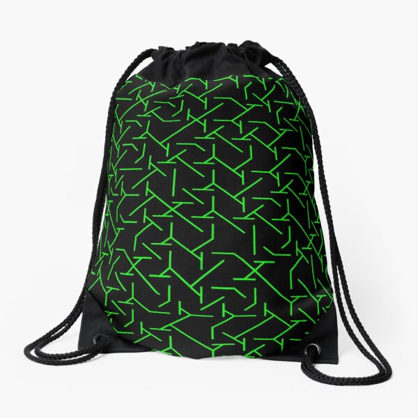 Green Complex Line Pattern | Random | Illustration | cool | modern art | abstract art | fractal art Drawstring Bag