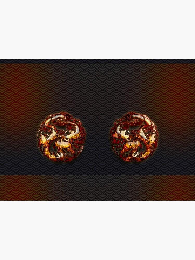 Twin Dragon Fire Wheels on Black by PLUGOarts