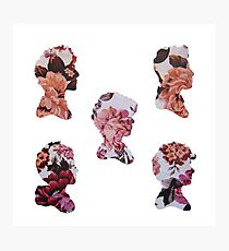 One Direction Floral Silhouettes Photographic Print
