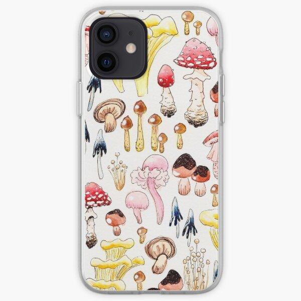 Botanical mushroom illustration iPhone Soft Case
