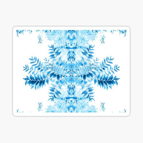 Kaleidoscope de feuilles en bleu  Sticker