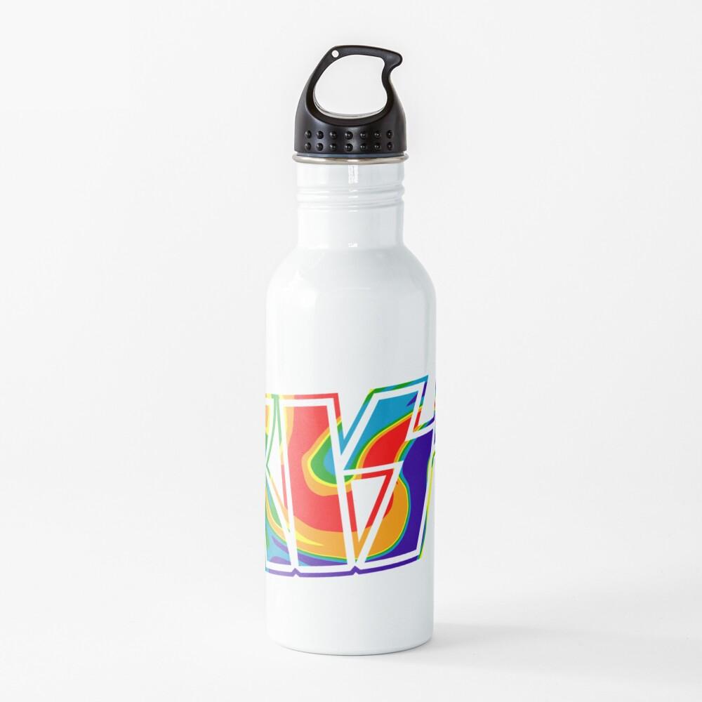 Rainbow Tie-Dye Kiss The Band Logo  Water Bottle