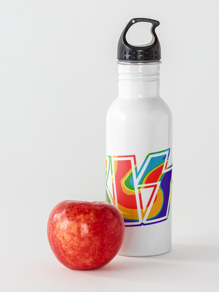 Alternate view of Rainbow Tie-Dye Kiss The Band Logo  Water Bottle