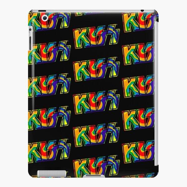 Rainbow Tie-Dye Kiss The Band Logo Dark iPad Snap Case