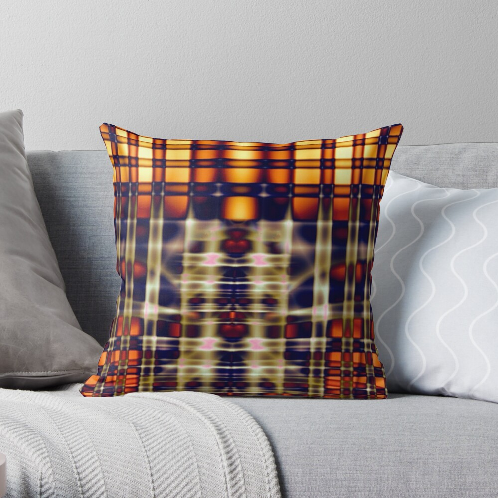 Abstract Lines in Citrus Throw Pillow