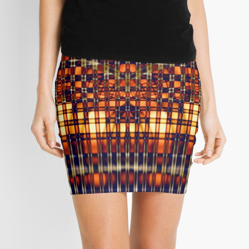 Abstract Lines in Citrus Mini Skirt