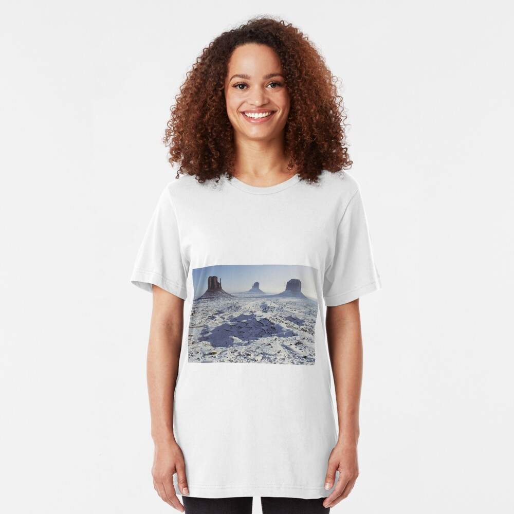 Monument Valley in the snow Slim Fit T-Shirt