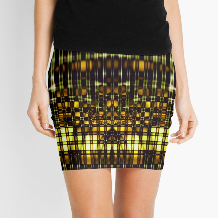 Abstract Lines in Chartreuse Mini Skirt