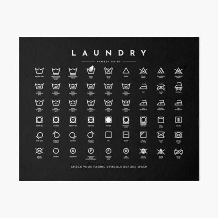 Laundry Sign Symbols Guide Care Horizontal black Art Board Print