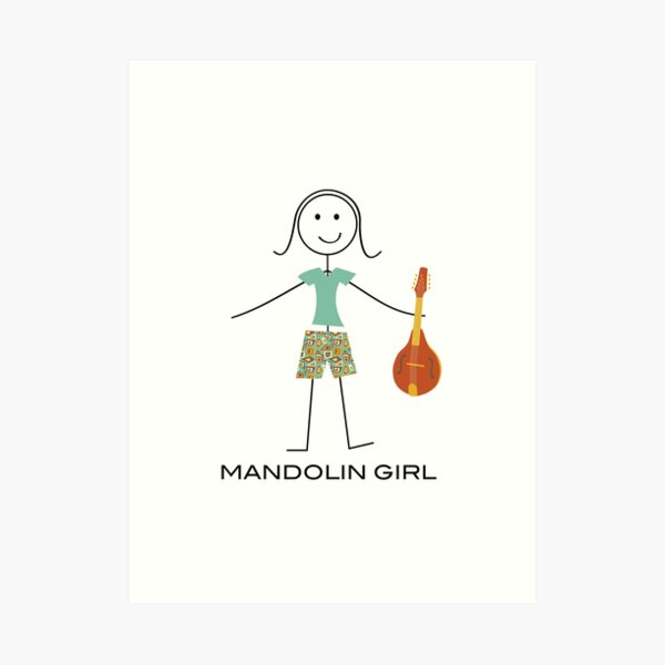 Funny Womens Mandolin Guitar, Girl Mandolin Player Gift, Mandolin Art Print