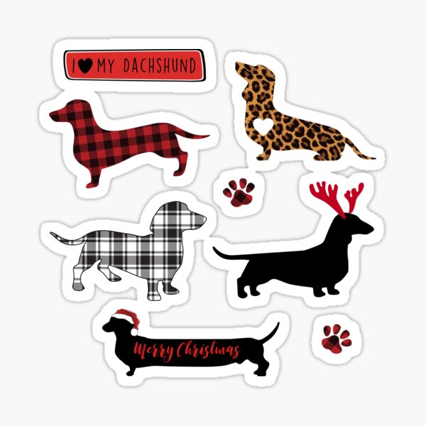 Funny Christmas Dachshund Sticker