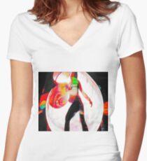 Graffiti Lightpainting Women's Fitted V-Neck T-Shirt