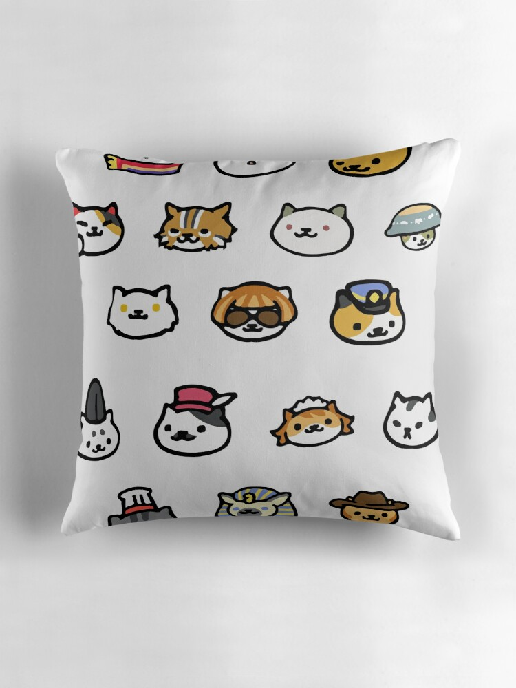 neko atsume rare cats throw pillows by jjdough redbubble. Black Bedroom Furniture Sets. Home Design Ideas