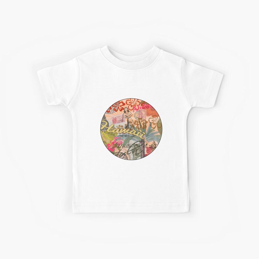 Vintage Hawaii Travel Collage tropical hawaiano colorido Camiseta para niños