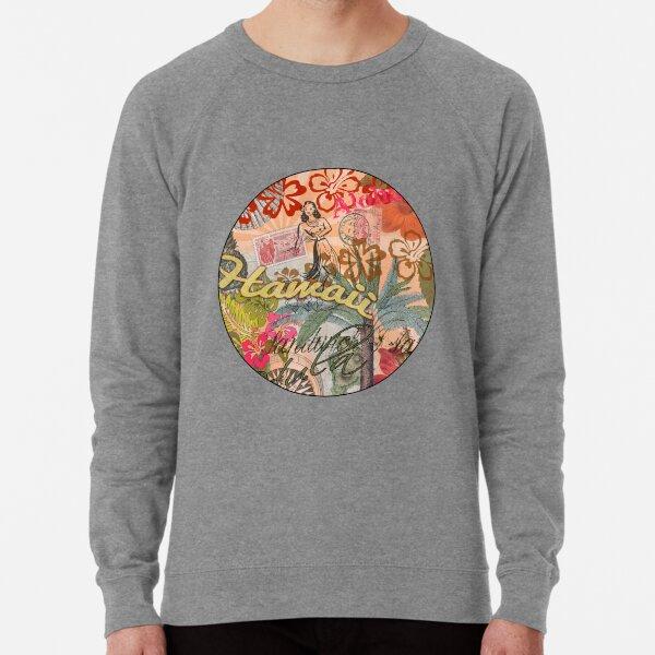 Vintage Hawaii Travel Colorful Hawaiian Tropical Collage Lightweight Sweatshirt