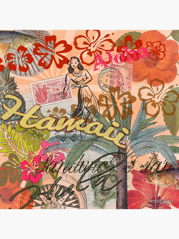 Vintage Hawaii Travel Collage tropical hawaiano colorido de antiqueart