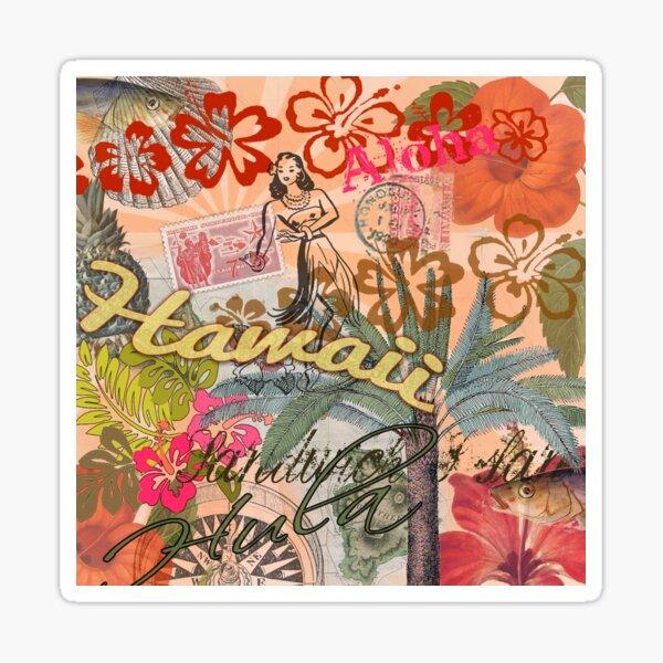 Vintage Hawaii Travel Colorful Hawaiian Tropical Collage Sticker