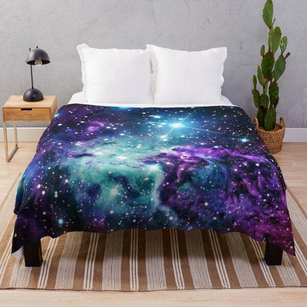 Fox Fur Nebula Teal Turquoise Purple Throw Blanket