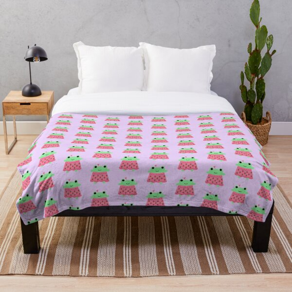 Strawberry Frog Throw Blanket